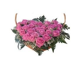корзина из 39 розовых роз и зелени