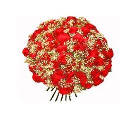Букет из 101 Розы, 25 гипсофил