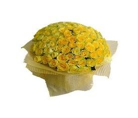 Букет из 101 золотой желтой розы