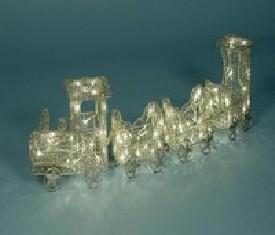 Новогоднее украшение Паровозик с вагончиками Серебро светящийся