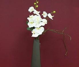 композиция из белых фалинопсисов в стильной вазе