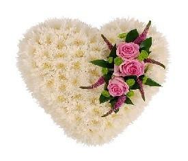 сердце из 101 белой хризантемы и розы