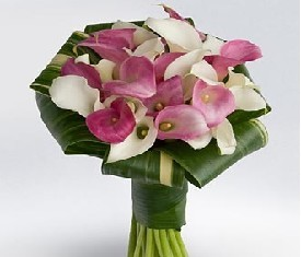 Букет из 19 белых и розовых калл