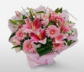 Букет из 15 розовых лилий и герберы