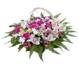 корзина из цветов орхидей и розы