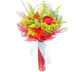 корпоративный букет из цветов мимозы и тюльпанов на 8 марта