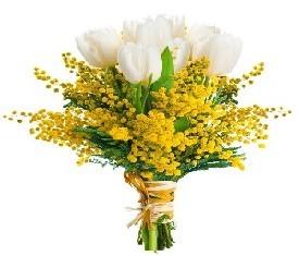 букет из мимозы и 5 белых тюльпанов