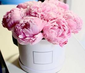 9 цветов пионов в шляпной коробке