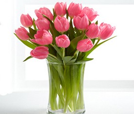 букет из 15 цветов розовых тюльпанов на 8 марта