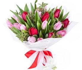 букет из 17 цветов красных и розовых тюльпанов на 8 марта