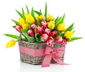 корзинка из розовых и желтых тюльпанов