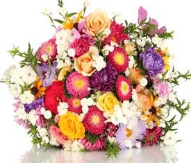 букет из цветов астры и розы