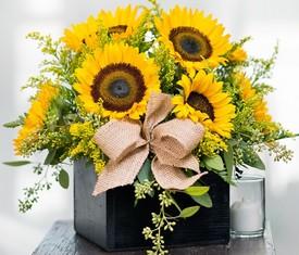 цветы подсолнухи в коробке