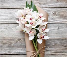 ветки цветов орхидеи в букете