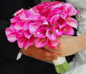 свадебный букет невесты из 29 розовых калл