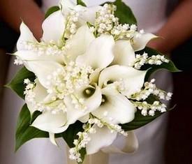 свадебный букет невесты из 25 цветов ландышей и 10 калл купить
