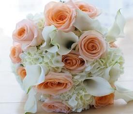 свадебный букет невесты из калл, гортензий и роз купить
