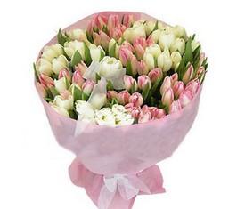 Букет из 99 белых и розовых цветов тюльпанов купить с бесплатной доставкой