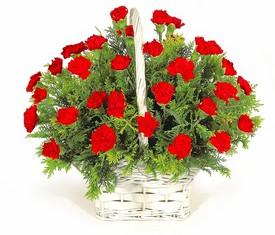 корзина из 51 цветка красной гвоздики