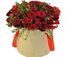 красные розы и красная альстромерия в шляпной коробке