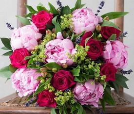 Пионы, Розы, Альстромерия, Лаванда купить