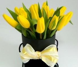 15 цветов тюльпанов в коробке