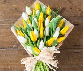 букет из 25 белых и желтых тюльпанов