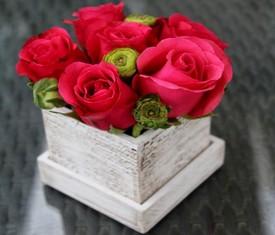 5 алых роз в кашпо
