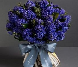 Букет из 25 синих гиацинтов
