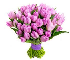 букет из 45 цветов розовых тюльпанов