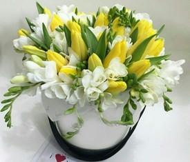 желтые тюльпаны и белые фрезия в шляпной коробке с доставкой