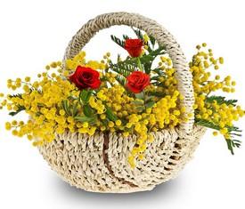 корзина из веток мимозы и розы с доставкой по москве