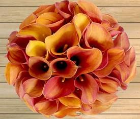 букет из цветов 45 оранжевых калл