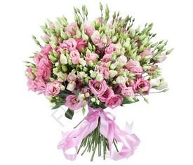 букет из 25 цветов розовой эустомы