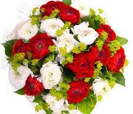 букет из 19 цветов белых и красных ранункулюсов лютиков