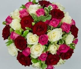 Букет из 35 разноцветной розы ассорти